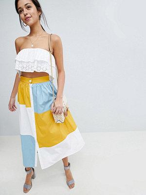 ASOS DESIGN colourblock midi skirt with button front - Colourblock