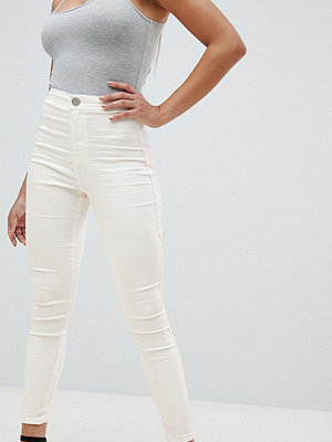 ASOS DESIGN Rivington High Waist Denim Jeggings In White With Pink Star Bum Stitching Detail