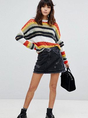 River Island Distressed Dark Wash Denim Mini Skirt - Washed black