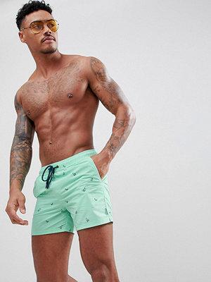 Badkläder - Pull&Bear All Over Print Swim Shorts In Mint Green