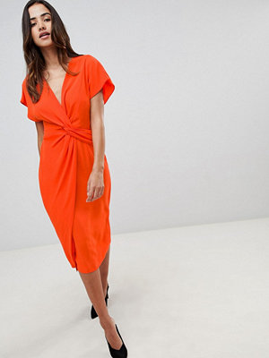 ASOS DESIGN Twist Midi Dress With Kimono Sleeve - Orange red