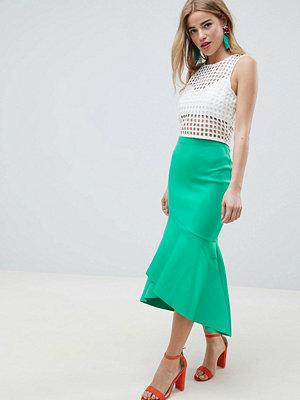 ASOS DESIGN scuba pencil midi skirt with ruffle detail