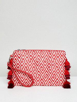 Miss Selfridge kuvertväska Tassel Clutch Bag - Red woven