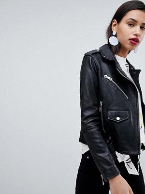 Skinnjackor - Whistles Belted Agnes Leather Biker Jacket