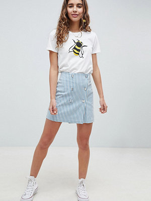 ASOS DESIGN double breasted mini skirt in blue stripe with buttons