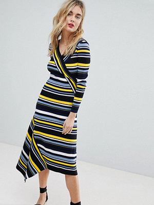 Warehouse Stripe Asymmetric Hem Knitted Midi Dress - Multi stripe