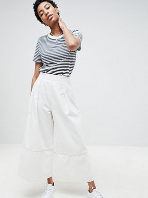Asos Tall ASOS DESIGN Tall Denim Wide Leg Culottes In Off White - Off white