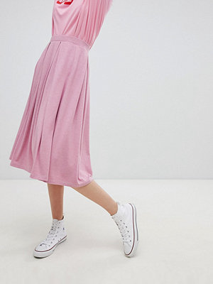 ASOS DESIGN midi skirt with box pleats in pink marl - Pink marl