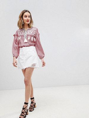 River Island Distressed Detail Denim Mini Skirt