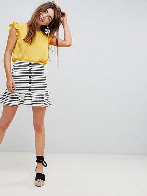 ASOS DESIGN stripe mini skirt with pep hem and button front - Cream/black