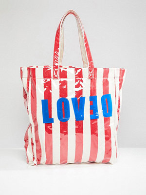 Stradivarius shopper Love and Stripe Beach Bag