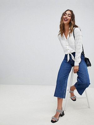 River Island Wide Leg Cropped Jeans - Mid auth