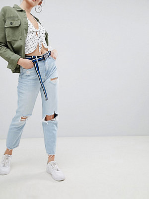 Bershka light washed ripped jean