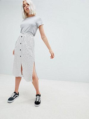 Pull&Bear button detail midi skirt in polka dot