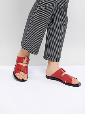 Pull&Bear leather cross strap flat sandal