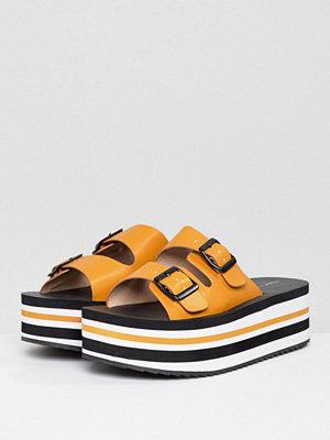 Pull&Bear flatform double buckle sandal in colourblock