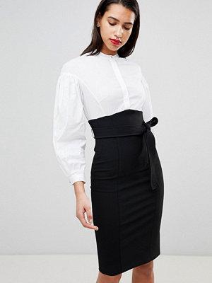 Karen Millen Corset Shirt Dress - Black & white