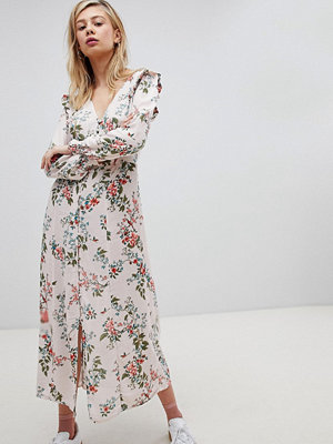 New Look Button Front floral Printed Maxi Tea Dress - Pink print