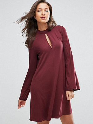 Asos Tall Swing Dress with Long Sleeves and Keyhole - Burgundy