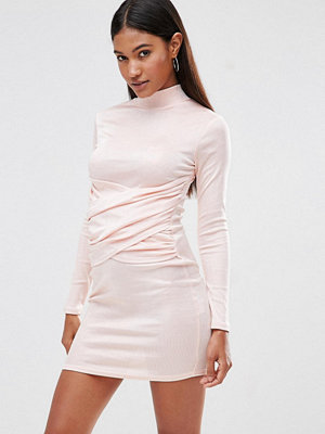 Club L High Neck Bodycon Dress With Wrap Front Detail - Blush