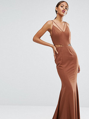 Jarlo Tall Strappy Maxi Dress With Waist Cutout Detail - Chocolate