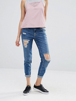 River Island Boyfriend Jeans With Rips