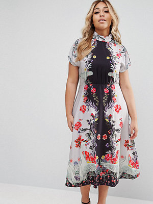 ASOS Curve Midi Dress With High Neck And Open Back In Placement Swan Print