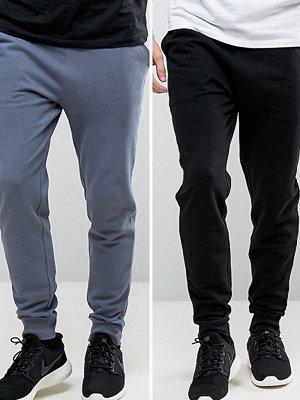 ASOS Skinny Joggers 2 Pack Blue/Black SAVE - Condensation/ black
