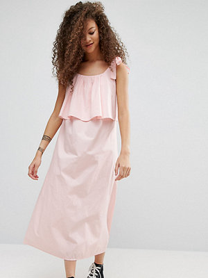 ASOS Petite Double Layer Maxi Dress in Cotton - Pink