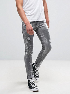 ASOS Super Skinny Jeans With Rips In Metalic Sliver Coated Washed Black - Sliver