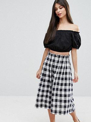 ASOS Petite Linen Prom Skirt - Check