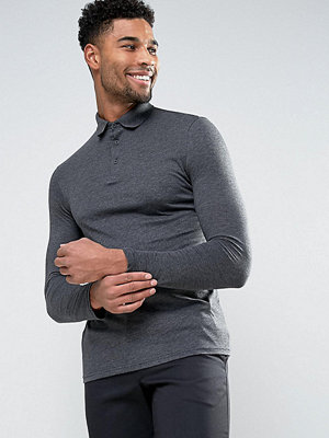 ASOS TALL Long Sleeve Jersey Polo In Charcoal Marl - Charcoal marl