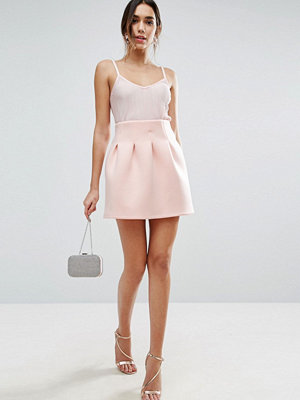ASOS High Waisted Mini Skirt in Scuba with Lantern Detail - Nude