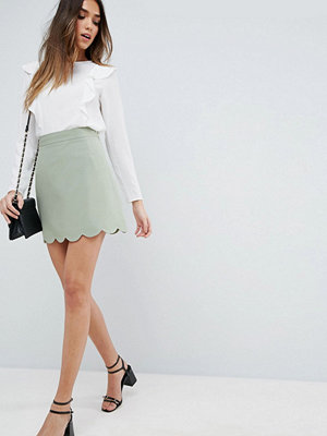 ASOS Tailored A-Line Mini Skirt with Scallop Hem - Mint