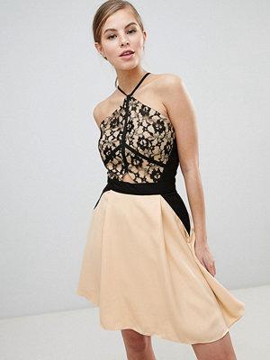 Little Mistress Lace Overlay Mini Dress