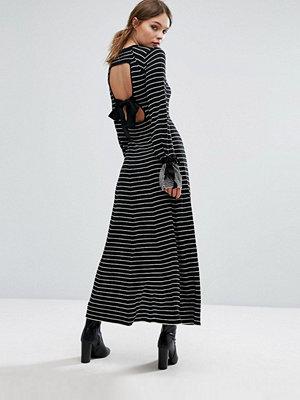 Warehouse Stripe Tie Cuff Maxi Dress - Black/nude