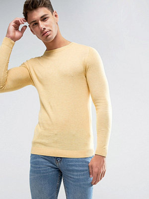ASOS Muscle Fit Cotton Jumper In Yellow - Lemon