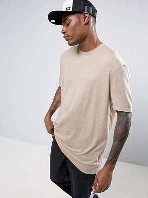 ASOS Knitted Relaxed Fit T-Shirt In Stone - Stone
