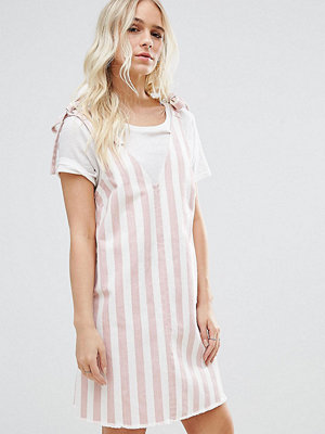 ASOS Petite Denim Dress in Pink and White Stripe With Tie Strap - Pink/ white
