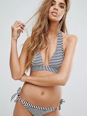 Oasis Stripe Halter Neck Bikini Top - Navy and ivory