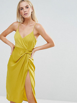 ASOS Petite Hammered Satin Strappy Pencil Midi Dress - Chartreuse