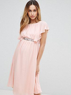 ASOS Maternity Embellished Waist Flutter Sleeve Midi Dress - Nude