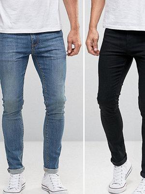 ASOS Super Skinny Jeans 2 Pack In Black & Mid Blue SAVE - Black/ mid blue