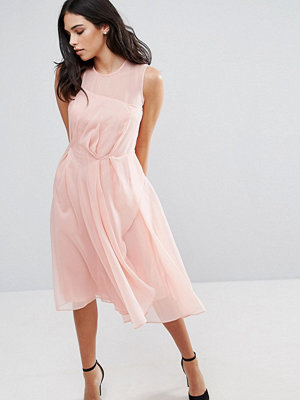 French Connection Sunray Chiffon Party Dress - Rose tan