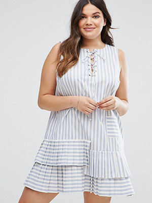 ASOS Curve Stripe Swing Dress With Ruffle Hem And Tie Front