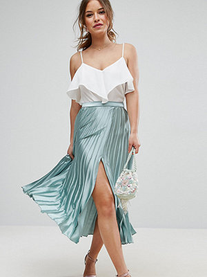 ASOS Petite Satin Pleated Midi Skirt with Splice - Mint
