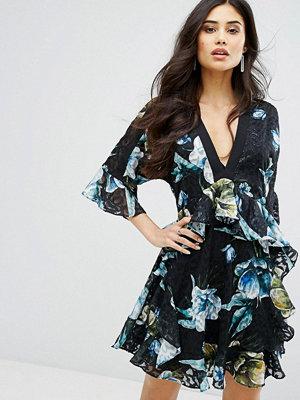 River Island Studio Multi Ruffle Floral Print Dress - Black print