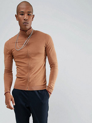 ASOS Muscle Fit Track Jacket In Rust - Rust