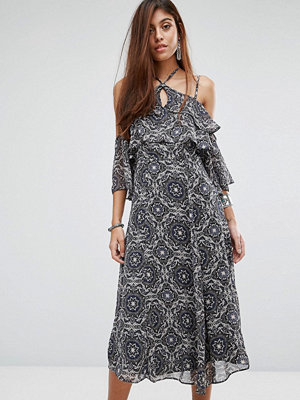 River Island Floral Midi Dress With Cold Shoulder - Black print