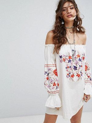 Free People Embroidered Off Shoulder Dress - Ivory